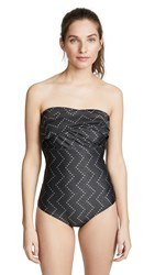 Baja East Bandeau One Piece Swimsuit Black Chevron