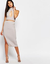 Club L Rib Detail Midi Skirt Grey