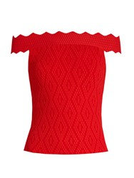 Jonathan Simkhai Off The Shoulder Diamond Knit Top Red