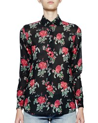 Saint Laurent Long Sleeve Grunge Rose Blouse Black Red Men's Size 34