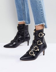 Carvela Sparky Pearl Detail Leather Kitten Heel Ankle Boots Black