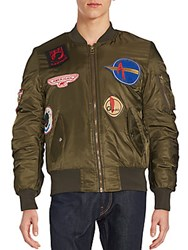 American Stitch Patched Bomber Jacket Olive
