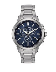 Citizen Eco Drive Super Titanium Chronograph Bracelet Watch Silver