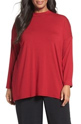 Eileen Fisher Plus Size Women's Lightweight Jersey Top China Red