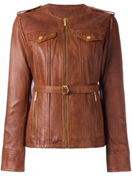 Michael Michael Kors Multi Pocket Zipped Jacket Brown