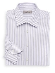 Canali Modern Fit Striped Cotton Dress Shirt White Blue