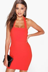 Boohoo Crepe Halterneck Bodycon Dress Orange