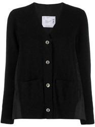 Sacai Panelled Cardigan Black