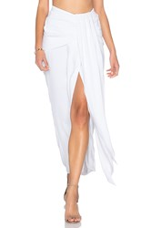 Shona Joy Delfine Draped Midi Skirt White