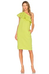 Apiece Apart Reina One Shoulder Ruffle Dress Lemon