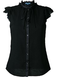 Guild Prime Ruffled Lace Button Down Sleeveless Shirt Black