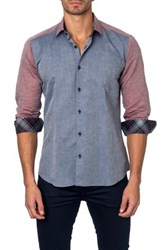 Jared Lang Long Sleeve Printed Semi Fitted Shirt Gray