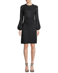 J. Mendel Jewel Neck Blouson Sleeve Beaded Cocktail Dress Black