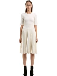 Salvatore Ferragamo Ruffled Wool Blend Knit Dress