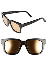Women's Linda Farrow 'D Frame' 52Mm Mirrored Lens Sunglasses Black Gold