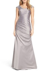 La Femme Women's Wrap Front Side Ruched Mermaid Gown