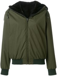 Holland And Holland Reversible Fur Hooded Jacket Green