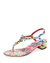 Dolce And Gabbana Jeweled Carretto Print T Strap Sandal Multi