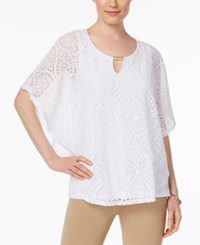 Jm Collection Lace Keyhole Poncho Only At Macy's Bright White