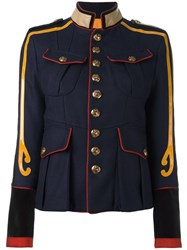 Dsquared2 Embellished 'Livery Tenent' Military Jacket Blue