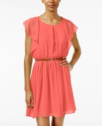 Amy Byer Bcx Juniors' Belted Flutter Sleeve Dress Coral
