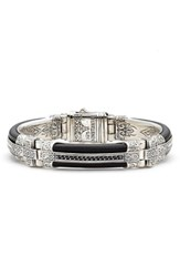Konstantino 'S Plato Etched Sterling Silver And Leather Bracelet
