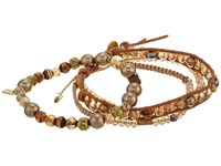 Chan Luu Set Of 3 Crystal Bracelets Sunflower Mix Bracelet Gold