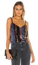 Bb Dakota Party's Arrived Sequin Top In Black Pink Metallic Gold Blue. Multi Stripe