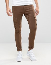 Asos Super Skinny Cargo Trousers In Brown Turkish Coffee