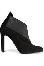 Paul Andrew Orchard Suede And Elastic Jacquard Ankle Boots Black