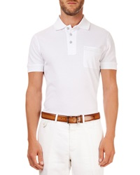 Berluti Polo With Leather Detail White