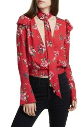 Afrm Women's Gigi Blouse With Necktie Red Rose