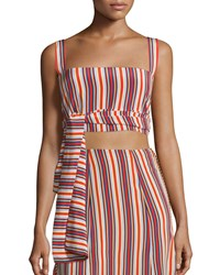 Alexis Frederick Silk Striped Crop Top Multicolor Women's Size S Multicolor Stripe