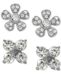 Giani Bernini 2 Pc. Set Cubic Zirconia Floral Stud Earrings In Sterling Silver Only At Macy's