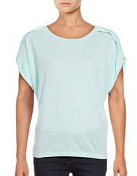 Lord And Taylor Plus Pleated Shoulder Top Green