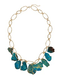 Panacea Hammered Golden Statement Necklace Turquoise