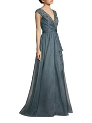 Badgley Mischka Beaded Silk Organza Gown Blue Grey