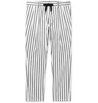Dolce And Gabbana Tapered Striped Cotton Blend Drawstring Trousers Black