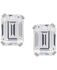 Macy's Cubic Zirconia Emerald Cut Stud Earrings In 14K Gold Or 14K White Gold