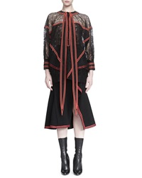Givenchy Tie Neck Ribbon Trimmed Lace Blouse