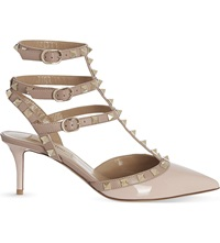 Valentino Rockstud 65 Patent Leather Heeled Courts Pale Pink
