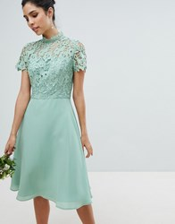 Chi Chi London 2 In 1 High Neck Midi Dress With Crochet Lace Green Lily