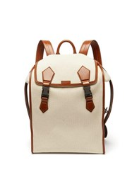Dolce And Gabbana Leather Trimmed Canvas Backpack Beige
