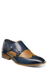 Stacy Adams Lavine Wingtip Monk Shoe Navy And Saddle Tan Leather