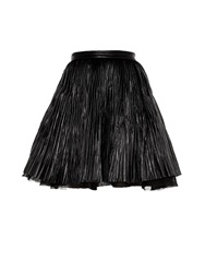 Saint Laurent Full Pleated Leather Mini Skirt