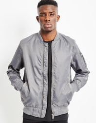 The Idle Man Lightweight Nylon Ma 1 Bomber Jacket Grey