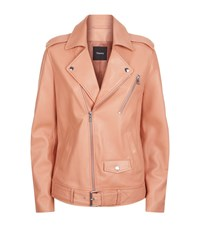 Theory Tralsmin Leather Biker Jacket Female Pink