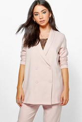 Boohoo Boutique Double Breasted Structured Blazer Nude