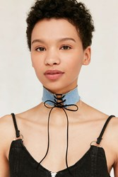 Urban Outfitters Denim Lace Up Choker Necklace Blue