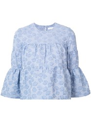 Co Floral Embroidered Top Blue